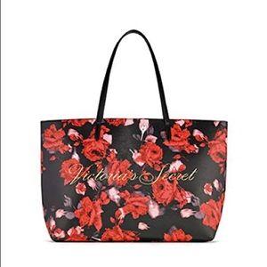 Victoria's Secret Red & Black Floral Tote NWT